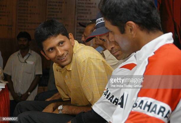 Venkatesh Prasad Indian Cricket Player and mediumpacer with Rahul Dravid Indian Cricket Team Captain at Chinnaswamy Stadium in Bangalore Karnataka...