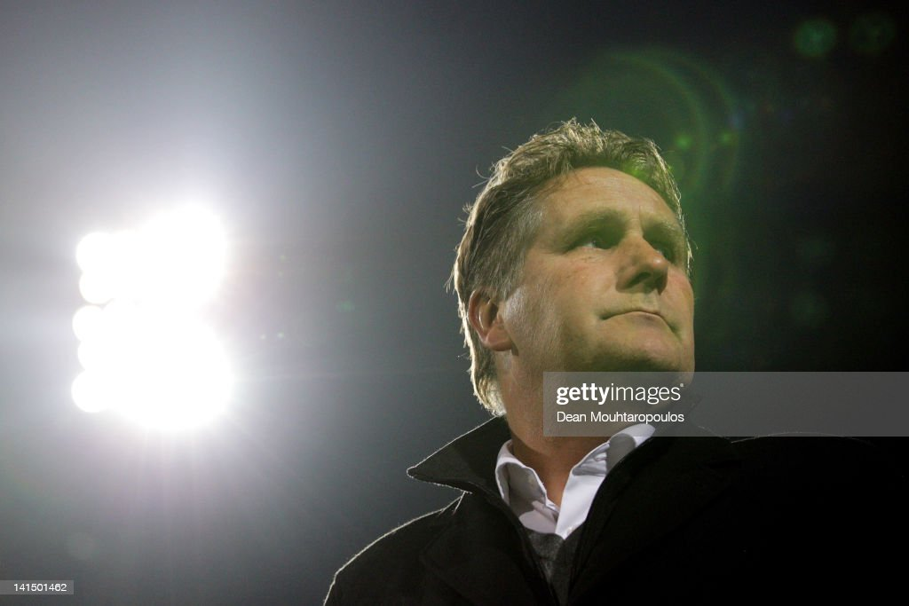 Venlo Manager / Coach Ton Lokhoff looks on prior to the Eredivisie match between VVV Venlo and NEC Nijmegen at Seacon Stadium De Koel on March 17...