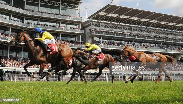 Vent de Force ridden by Richard Kingscote wins the Betfred Melrose Stakes as Joe Doyle falls from Mantou on Betfred Ebor Day during Day Four of the...