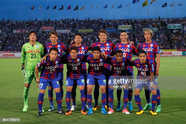 Ventforet Kofu players line up for the team photos prior to the JLeague J1 match between Ventforet Kofu and Shimizu SPulse at Yamanashi Chou Bank...