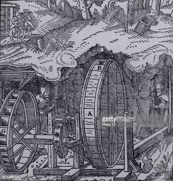 Ventilating a mine_Hollow drum with air holes B at opposite sides mounted on an axle C to which are fixed fans rotating inside the drum Axle turned...