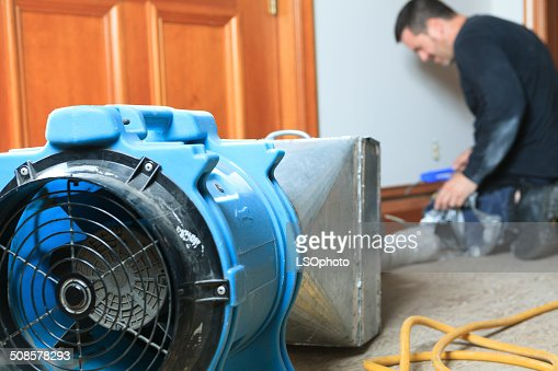 Ventilation Cleaner - On Work : Stock Photo