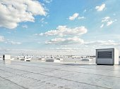 Ventilation systems on the building roof, technology, HVAC