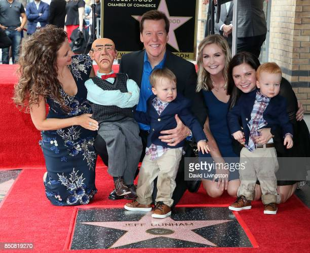 Ventriloquist Jeff Dunham with family members and puppet Walter attends his being honored with a Star on the Hollywood Walk of Fame on September 21...