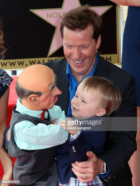 Ventriloquist Jeff Dunham with puppet Walter and his son James Dunham attends his being honored with a Star on the Hollywood Walk of Fame on...