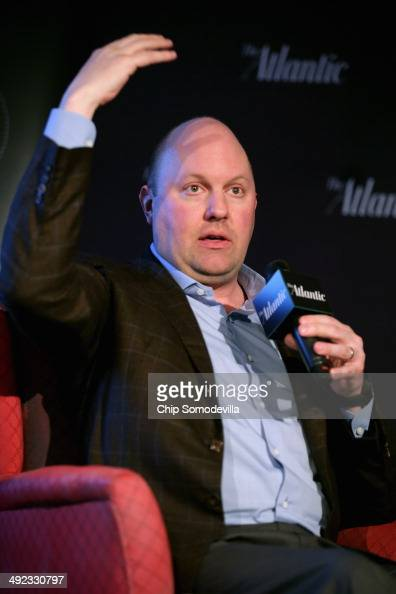 Venture capitalist and cofounder of Andreessen Horowitz Marc Andreessen participates in a 'Atlantic Exchange' interview at 1776 in The Penthouse May...