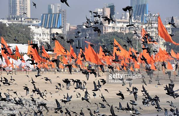 Venue where Prime Minister Narendra Modi to arrive at Girgaum Chowpatty to lay the foundation of the Shiv Smarak in the Arabian Sea on December 24...