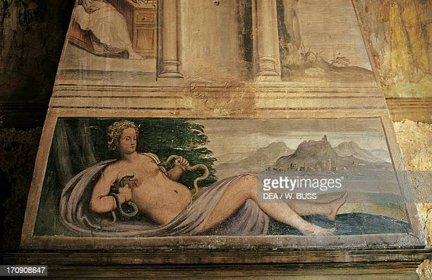 Venus and Vulcan who is forging weapons for Cupid fresco on the mantel Hall of Venus House of Francesco Petrarca Arqua Petrarca Veneto Italy