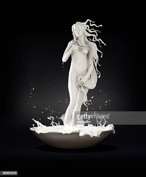 Venus appearing in a bowl of milk