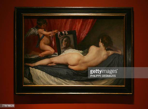 Venus at her Mirror by Spanish artist Diego Velazquez at the opening of a new exhibition on the mythological paintings of Velazquez at the Prado...