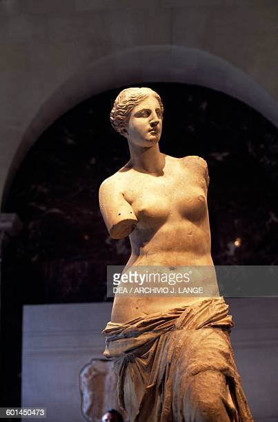 Venus de Milo 130 BC by Alexandros of Antioch marble sculpture found in Milos Greece Greek civilization 2nd century BC Detail Paris Musée Du Louvre