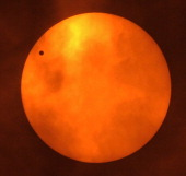 Venus is silhouetted as it orbits between the Sun and the Earth during the transit of Venus seen from Bangkok on June 6 2012 Astronomers around the...