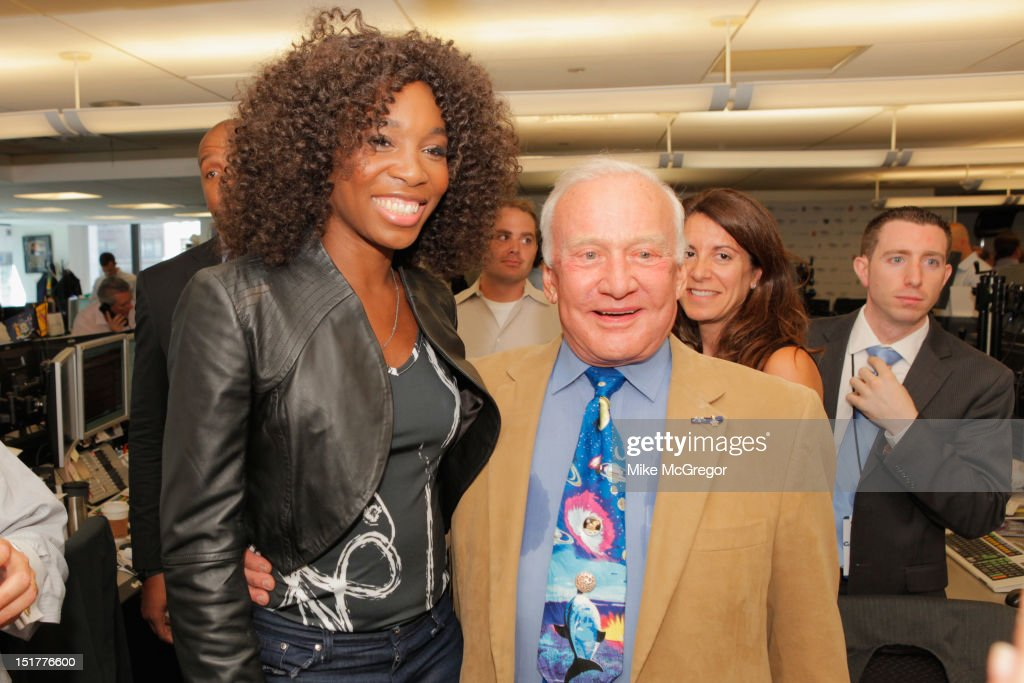 Venus Williams and Buzz Aldrin attend Cantor Fitzgerald & BGC Partners host annual charity day on 9/11 to benefit over 100 charities worldwide at Cantor Fitzgerald on September 11, 2012 in New York City.