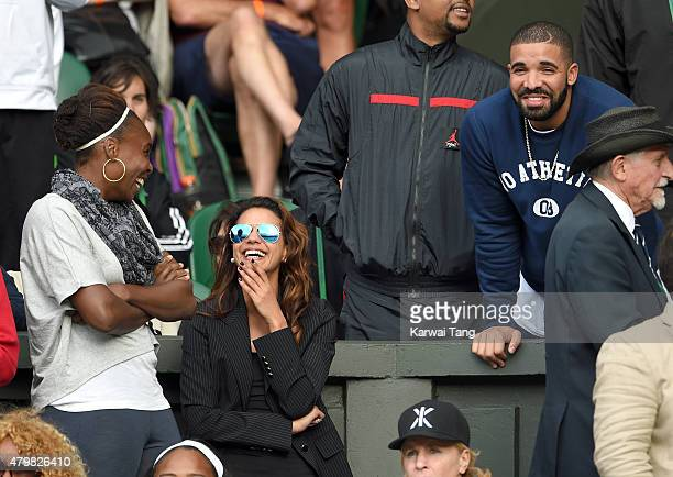 Venus Williams and Drake attend day eight of the Wimbledon Tennis Championships at Wimbledon on July 7 2015 in London England