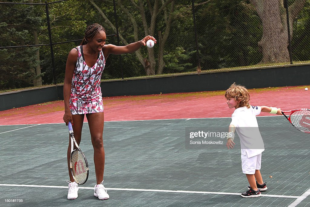 <a gi-track='captionPersonalityLinkClicked' href=/galleries/search?phrase=Venus+Williams&family=editorial&specificpeople=171981 ng-click='$event.stopPropagation()'>Venus Williams</a> and guest attend the EleVen by <a gi-track='captionPersonalityLinkClicked' href=/galleries/search?phrase=Venus+Williams&family=editorial&specificpeople=171981 ng-click='$event.stopPropagation()'>Venus Williams</a> party on August 11, 2012 in Southampton, New York.