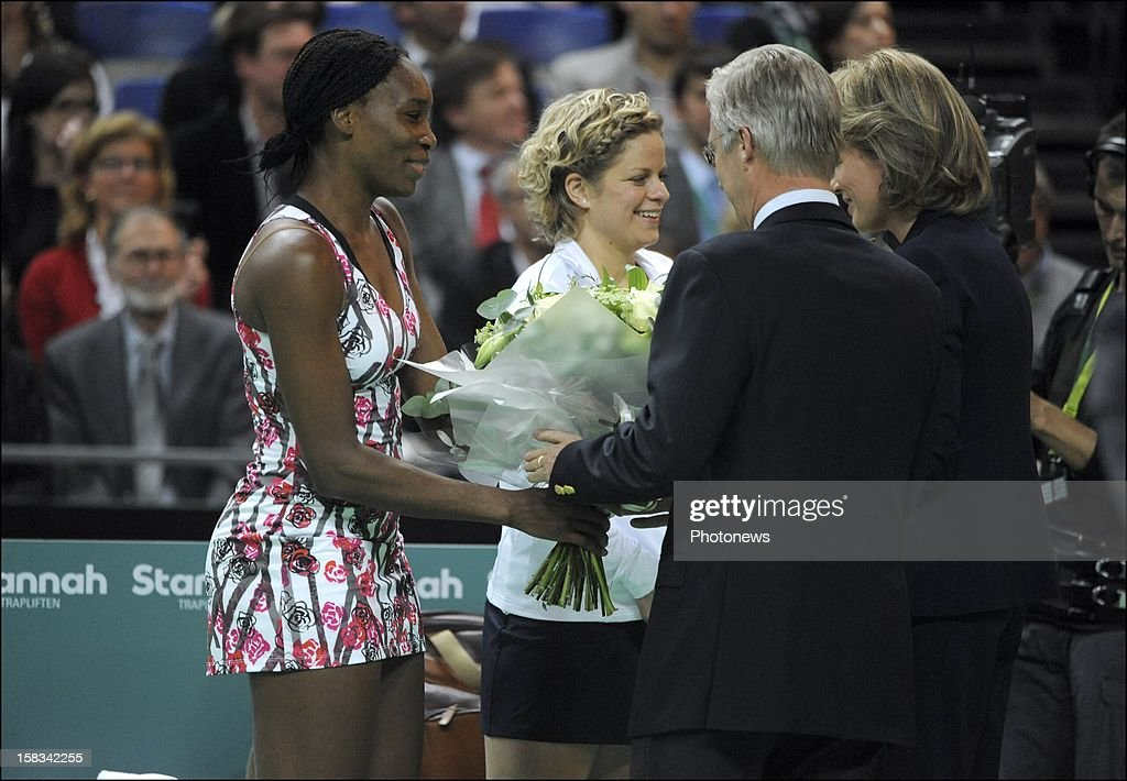 Venus Williams and Kim Clijsters talk with Prince Phillip of Belgium and Princess Mathilda of Belgium after Clistjer's last match during the 'Kim's Thank You Games' at sportpaleis on December 12, 2012 in Antwerp, Belgium.