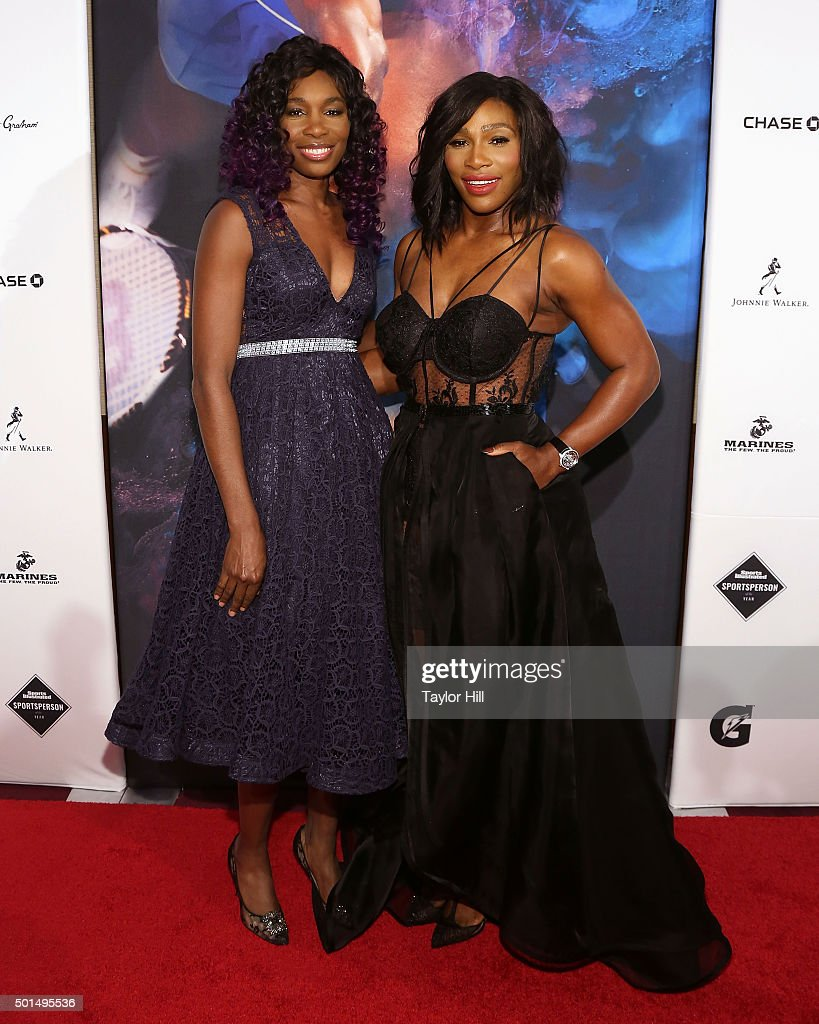 Venus Williams (L) and Serena Williams attend the 2015 Sports Illustrated Sportsperson Of The Year Ceremony at Pier Sixty at Chelsea Piers on December 15, 2015 in New York City.