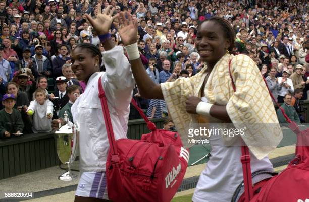 Venus Williams and Serena Williams win doubles at wimbledon July 2000 Venus and Serena Williams leave centre court after winning the women's doubles...
