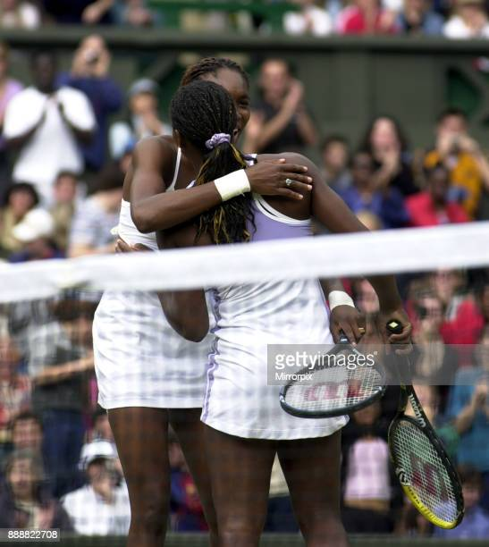 Venus Williams and Serena Williams win doubles at wimbledon July 2000 Venus and Serena Williams celebrate winning the women's doubles final after...