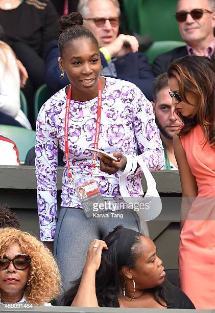 Venus Williams attends day ten of the Wimbledon Tennis Championships at Wimbledon on July 9 2015 in London England