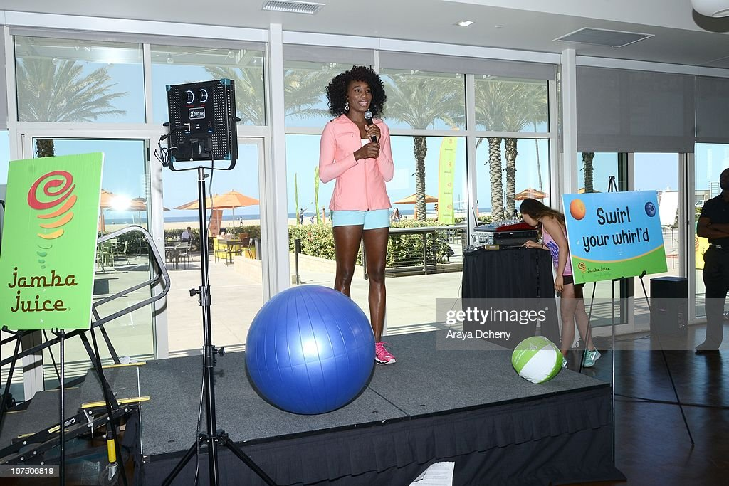 <a gi-track='captionPersonalityLinkClicked' href=/galleries/search?phrase=Venus+Williams&family=editorial&specificpeople=171981 ng-click='$event.stopPropagation()'>Venus Williams</a> attends the annual Jamba FiTrends Expo featuring Olympian and tennis star <a gi-track='captionPersonalityLinkClicked' href=/galleries/search?phrase=Venus+Williams&family=editorial&specificpeople=171981 ng-click='$event.stopPropagation()'>Venus Williams</a> on April 25, 2013 in Santa Monica, California.