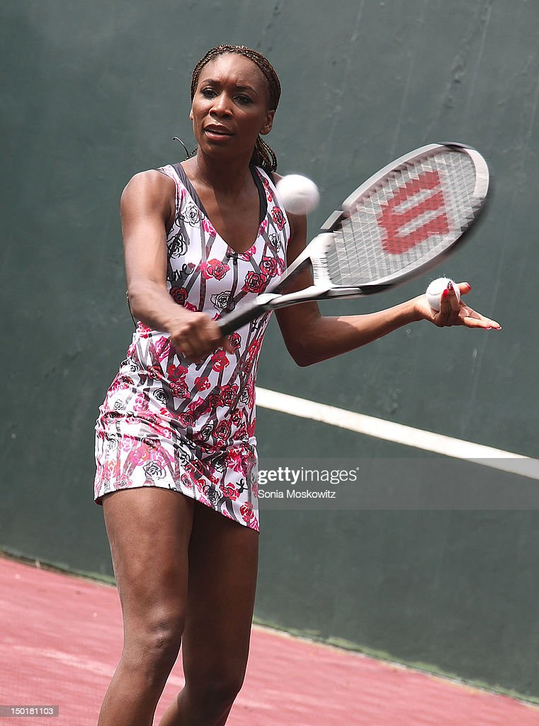 <a gi-track='captionPersonalityLinkClicked' href=/galleries/search?phrase=Venus+Williams&family=editorial&specificpeople=171981 ng-click='$event.stopPropagation()'>Venus Williams</a> attends the EleVen by <a gi-track='captionPersonalityLinkClicked' href=/galleries/search?phrase=Venus+Williams&family=editorial&specificpeople=171981 ng-click='$event.stopPropagation()'>Venus Williams</a> party on August 11, 2012 in Southampton, New York.