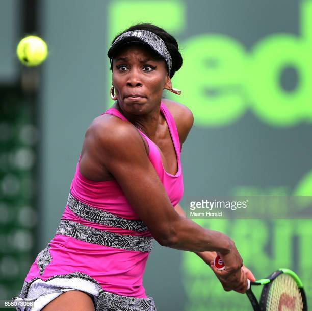 Venus Williams concenrates on the ball as she returns a shot to Patricia Maria Tig during a match at the Miami Open on Sunday March 26 2017 at the...