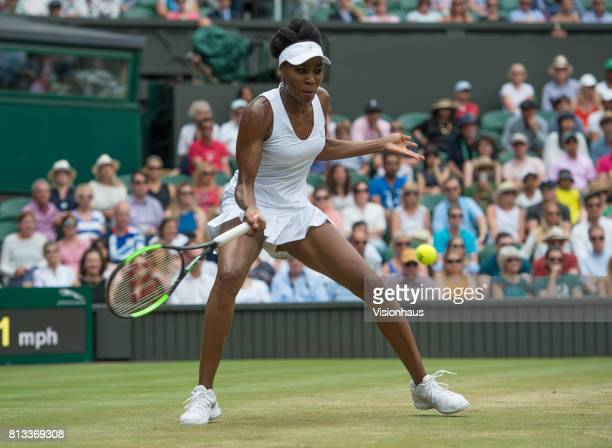 Venus Williams during her fourth round match against Ana Konjuh on day seven of the Wimbledon Lawn Tennis Championships at the All England Lawn...