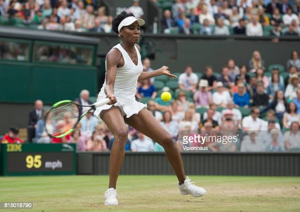 Venus Williams during her quarterfinal match against Jelena Ostapenko during day eight of the Wimbledon Lawn Tennis Championships at the All England...