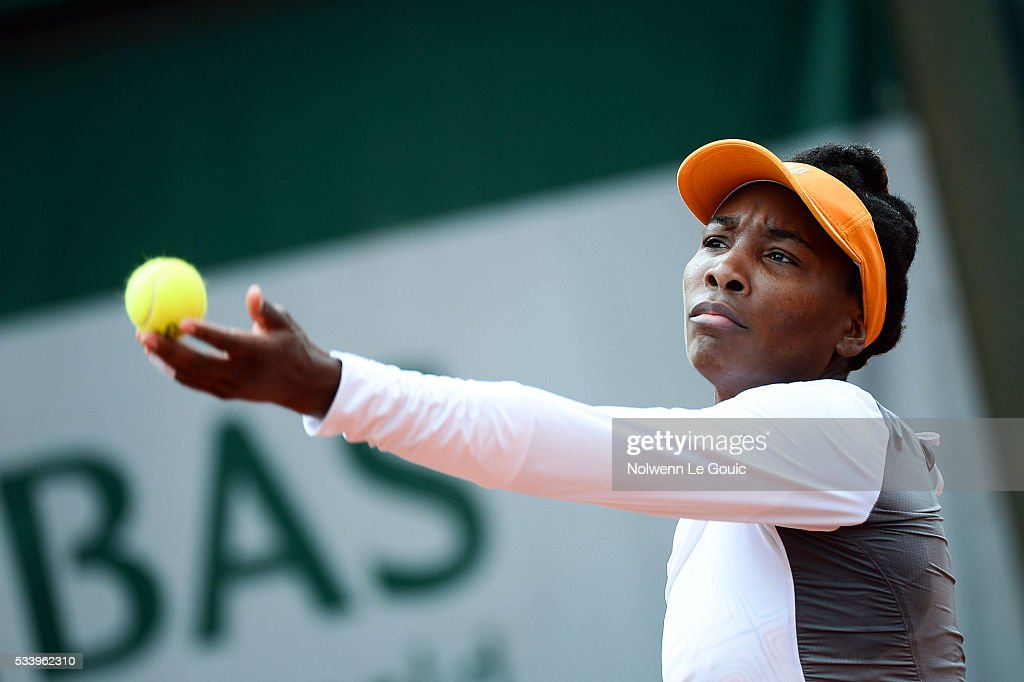Venus Williams during the Women's Singles first round on day three of the French Open 2016 at Roland Garros on May 24, 2016 in Paris, France.