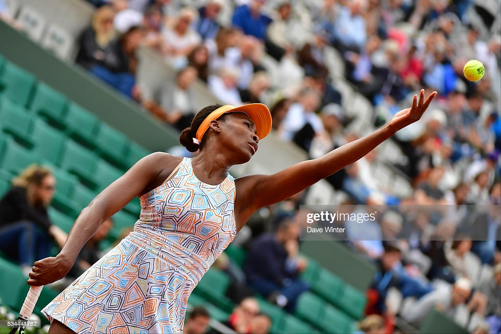 Venus Williams during the Women's Singles second round on day five of the French Open 2016 at Roland Garros on May 26, 2016 in Paris, France.
