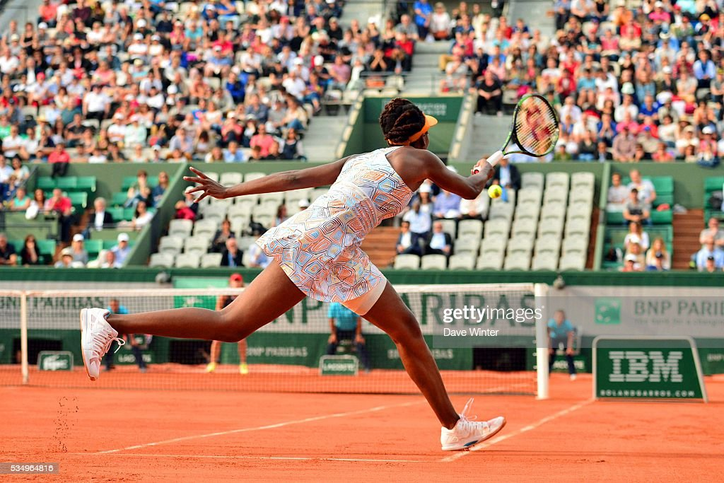 Venus Williams during the Women's Singles third round on day seven of the French Open 2016 on May 28, 2016 in Paris, France.