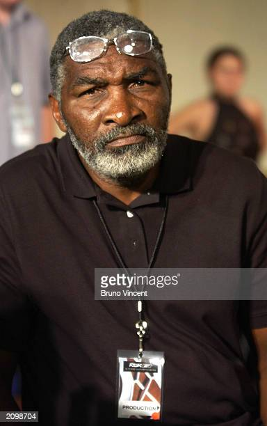 Venus Williams' father Richard Williams watches a fashion show publicizing sports clothing company Reebok's tennis collection June 20 2003 at The...