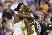 Venus Williams hugs her little sister Serena after defeating her 62 64 in final match to win the US Open womens' championship at Arthur Ashe Stadium...