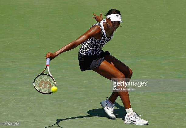 Venus Williams in action against Agnieszka Radwanska of Poland during Day 10 of the Sony Ericcson Open at Crandon Park Tennis Center on March 28 2012...