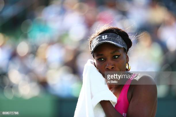 Venus Williams looks on against Patricia Maria Tig of Romania during Day 7 of the Miami Open at Crandon Park Tennis Center on March 26 2017 in Key...