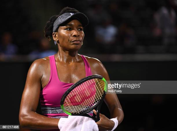 Venus Williams looks on during the semifinals match against Johanna Konta of Great Britain on day 11 of the Miami Open at the Crandon Park Tennis...