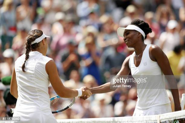 Venus Williams of The United States and Ana Konjuh of Croatia shake hands after the Ladies Singles fourth round match on day seven of the Wimbledon...