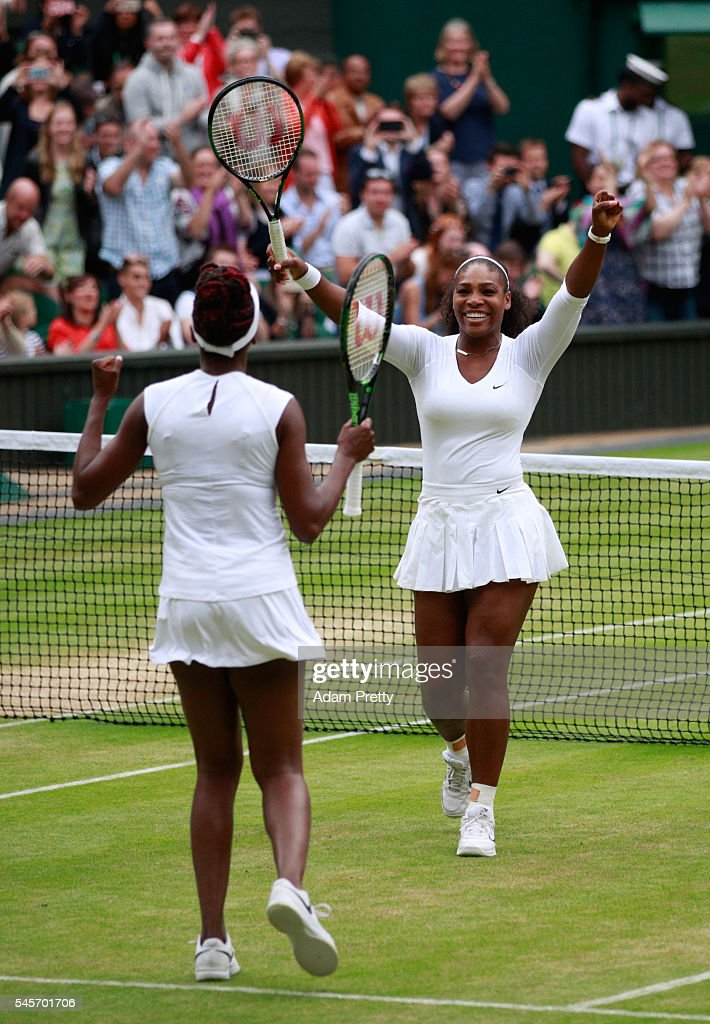 Venus Williams of The United States and Serena Williams of The United States celebrate victory in the Ladies Doubles Final against Timea Babos of Hungary and Yaroslava Shvedova of Kazakhstan on day twelve of the Wimbledon Lawn Tennis Championships at the All England Lawn Tennis and Croquet Club on July 9, 2016 in London, England.