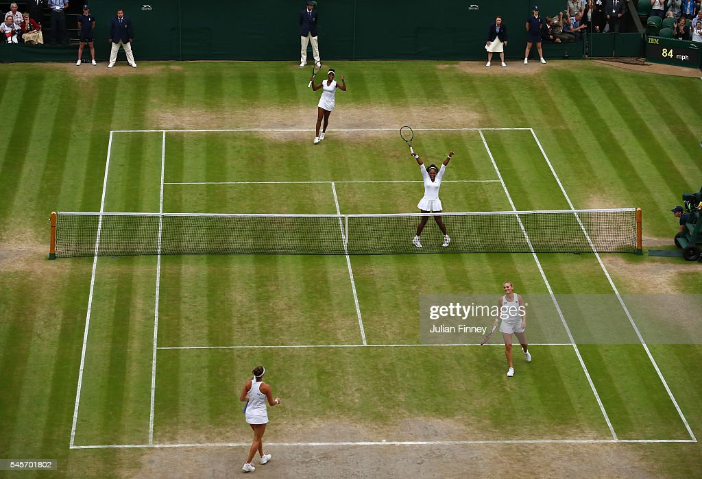 Venus Williams of The United States (TL) and Serena Williams of The United States (TR) celebrate victory in the Ladies Doubles Final against Timea Babos of Hungary (BR) and Yaroslava Shvedova of Kazakhstan (BL) on day twelve of the Wimbledon Lawn Tennis Championships at the All England Lawn Tennis and Croquet Club on July 9, 2016 in London, England.
