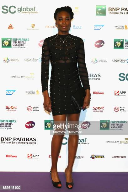 Venus Williams of the United States arrives for the Official Draw Ceremony and Gala of the BNP Paribas WTA Finals Singapore presented by SC Global at...