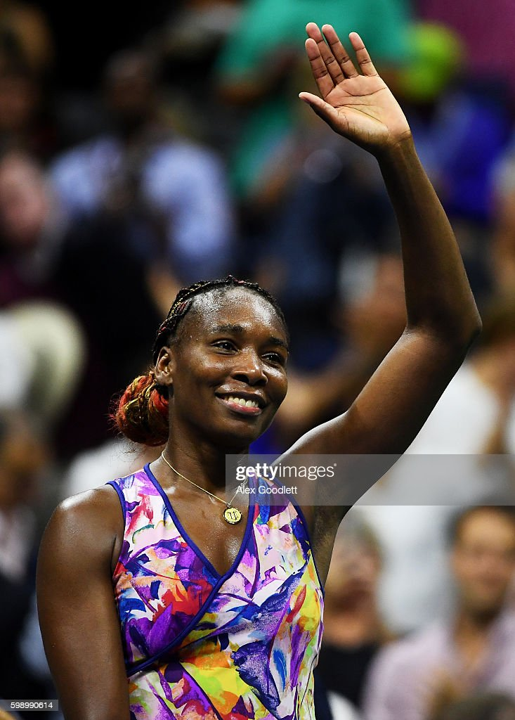 Venus Williams of the United States celebrates defeating Laura Siegemund of Germany during her third round Women's Singles match on Day Six of the 2016 US Open at the USTA Billie Jean King National Tennis Center on September 3, 2016 in the Flushing neighborhood of the Queens borough of New York City.