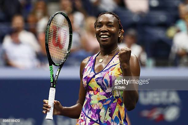 Venus Williams of the United States celebrates her win over Julia Goerges of Germany during her second round Women's Singles match on Day Four of the...