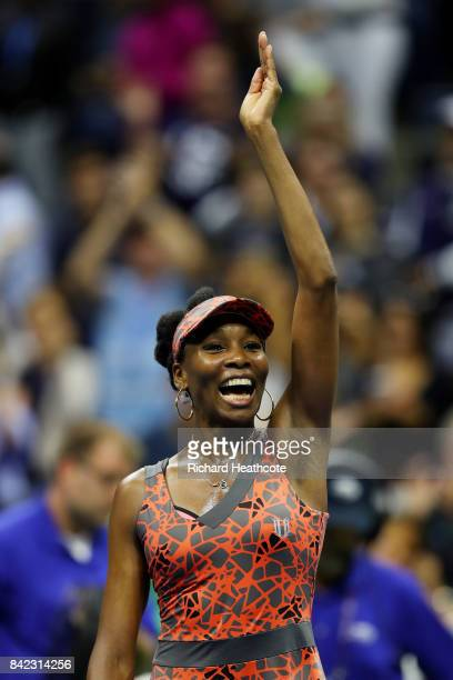 Venus Williams of the United States celebrates her women's singles fourth round match win over Carla Suarez Navarro of Spain on Day Seven of the 2017...