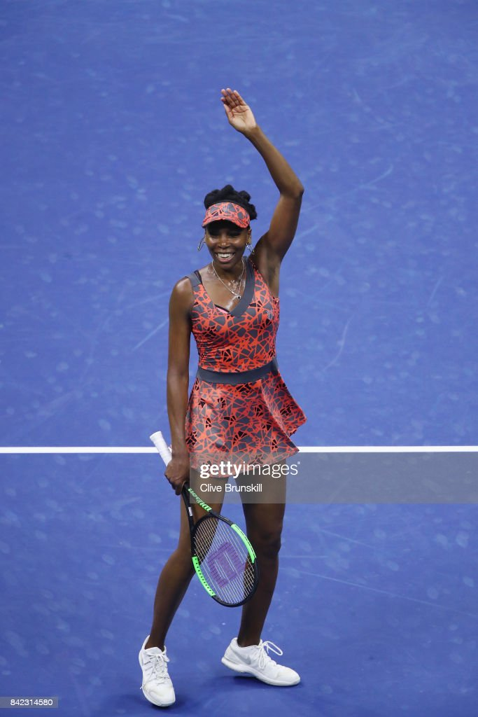 Venus Williams of the United States celebrates her women's singles fourth round match win over Carla Suarez Navarro of Spain on Day Seven of the 2017 US Open at the USTA Billie Jean King National Tennis Center on September 3, 2017 in the Flushing neighborhood of the Queens borough of New York City.