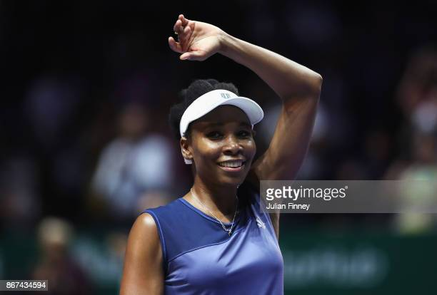 Venus Williams of the United States celebrates victory in her singles semi final match against Caroline Garcia of France during day 7 of the BNP...