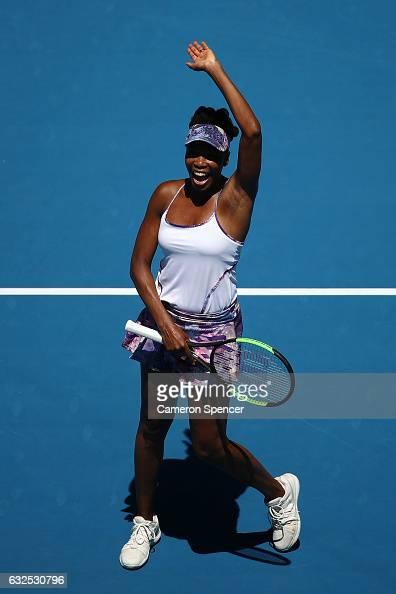 Venus Williams of the United States celebrates winning her quarterfinal match against Anastasia Pavlyuchenkova of Russia on day nine of the 2017...