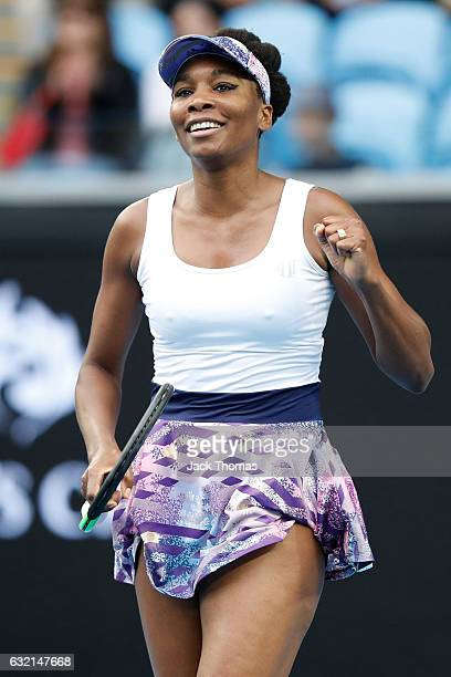Venus Williams of the United States celebrates winning her third round match against YingYing Duan of China on day five of the 2017 Australian Open...