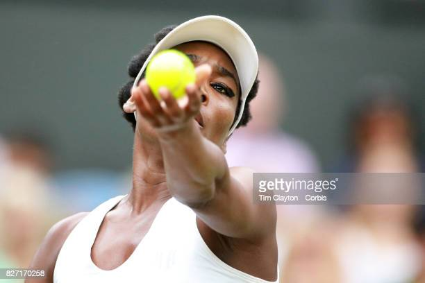 Venus Williams of the United States in action against Jelena Ostapenko of Latvia in the Ladies' Singles Quarter Final match on Center Court during...