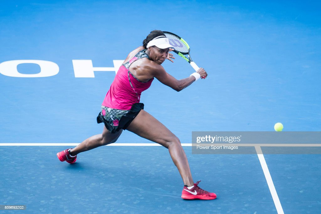 Venus Williams of the United States in action during the Prudential Hong Kong Tennis Open 2017 match between Risa Ozaki of Japan and Venus Willians of USA at Victoria Park on October 10, 2017 in Hong Kong, Hong Kong.